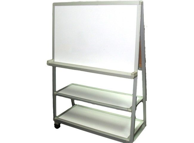 Custom-made flip chart stands with shelvings on roller wheels